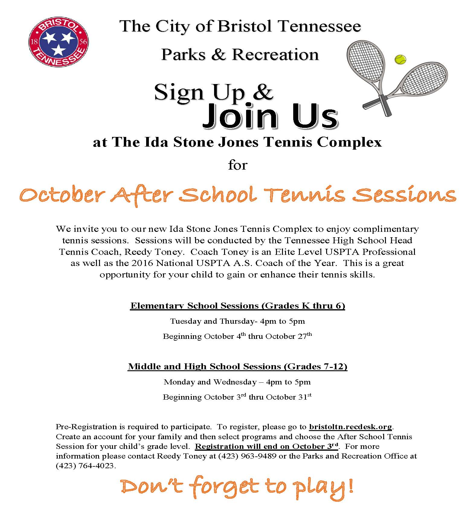 October After School Tennis Sessions